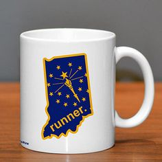 Indiana Runner Ceramic Mug - Show off your pride for Indiana with this great Indiana Runner Ceramic Coffee Mug.