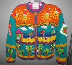 bedazzled palm trees tropical tacky ugly christmas sweater jumper sz l fun ebay - Ebay Ugly Christmas Sweater
