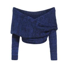 Blue Boat Neck Cross Front Crop Sweater (305 ARS) via Polyvore featuring  tops,