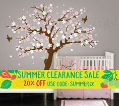 New Cherry Blossom Tree Wall Decal Blossom Tree for Baby Nursery