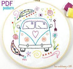 Hippy Van Bus Hand Embroidery PDF Pattern Travel by lovahandmade