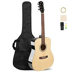 ARTALL 41 Inch Handmade Solid Wood Acoustic Dreadnought Guitar Beginner Kit with Gig Bag, Strings, Picks, Strap, Glossy Black Guitar Shop, Cool Guitar, Guitar For Beginners, Playing Guitar, Acoustic Guitar, Solid Wood, Music Instruments, Handmade, Kit