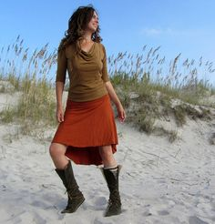 Organic Mullet Wanderer Short Skirt ( light hemp and organic cotton knit ) - organic fishtail