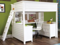 natural full size loft bed with white paint combined with desk chest of drawers racks also unique chair: charming kids bedroom decorating id...