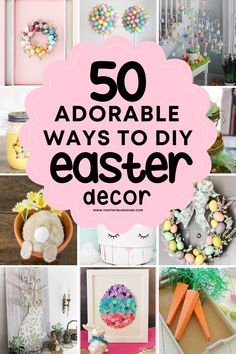Here are 50 adorable ways to DIY Easter decor this spring. These adorable DIY Easter decor ideas are the best way to add cute homemade Easter decor to your home. Easter Table Decorations, Holiday Decorations, Holiday Ideas, Easter Ideas, Decor Ideas, Craft Ideas, Easy Diy, Crafts, Busy Bee