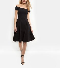 Black Bardot Neck Midi Skater Dress | New Look