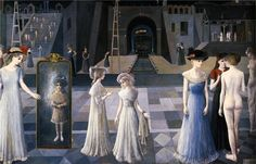 "Paul Delvaux ""Le Tunnel"" oil on canvas 1978 Max Ernst, Le Tunnel, Paul Delvaux, Rene Magritte, Mature Fashion, Post Impressionism, Art Database, Surreal Art, Vintage Pictures"