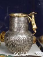 Artist: Egyptian art Title: So-called 'Kid' vase from az-Zaqaziq Genre: Gold work Period/Style: New Kingdom (XVIII-XXV dinasty) Location: Egyptian Museum Cairo