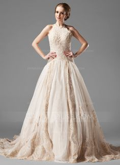A-Line/Princess Halter Chapel Train Beading Lace Up Spaghetti Straps Sleeveless Church General Plus No Winter Fall Champagne Tulle Lace Wedding Dress