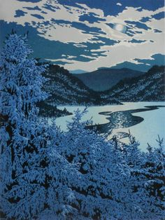 """""""Moonlight Lead"""" an 8-color, 12"""" x 9"""" reduction linocut print by William H. Hays."""