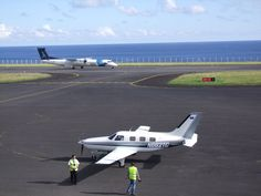 Taxiing into parking position at Horta Airport, Azores, on Transatlantic flight from St. Johns, Canada.
