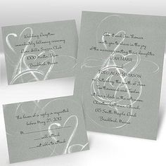 Thermography Wedding Invitations - silver heart wedding invitations
