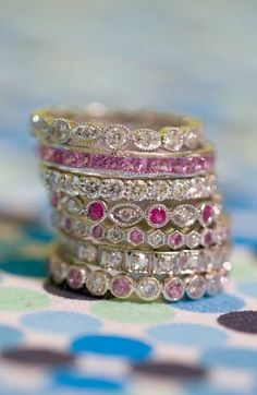 Love this stack of pink rings. Capri Jewelers Arizona ~ www.caprijewelersaz.com