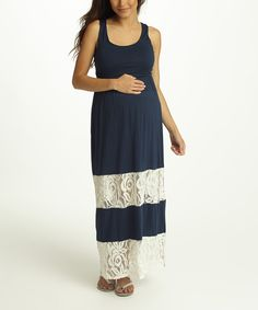 Navy Blue Lace Color Block Maternity Maxi Dress