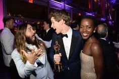 Jared #Leto, Eddie #Redmayne and Lupita #Nyong'o attend the #2015 Vanity Fair #Oscar #Afrerparty