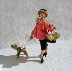 Roldan Klumpe Character Doll a Lady Shopper with her by ArtAttique
