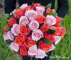 Pink and orange PassionRoses, the perfect pairing for your bridal bouquet!