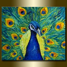 Original Peacock Oil Painting Textured Palette Knife by willsonart,
