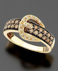 Le Vian 14k Gold Ring, Chocolate Diamond (5/8 ct. t.w.) and White Diamond Accent Buckle Ring - Rings - Jewelry & Watches - Macy's