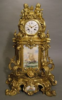 OnlineGalleries.com - An Impressive Antique French Mantle Clock by LeCat of Paris