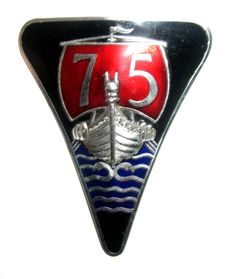 Rover Car Badge - 1953-59 Rover 75 P4 Mk II beautiful three colour enamelled metal badge. Marked J Fray and B'ham. This one with large '75'.  Have seen others with the numbers smaller.  Similar to the Rover 60, 80, 90, 100 and 105 badge. Two stud fixings to rear.