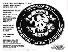 Join J.U.G.S (Just Us Girls Scootin) for their 9th Annual Ladies Bike Ride on Sunday, July 13. Proceeds go to support WINGS. Registration begins at 9:00am at Bungalow Joes in Hanover Park.  Registration is $25 and includes a t-shirt. First rider out at 10:30am. Come early for breakfast specials. This is a 2-3-4 wheel run so cages are welcome. There is an after party (guys welcome) that starts around 3:00pm. See you on the road!