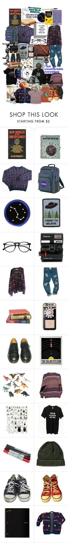 """intp set two"" by eggosandnougat ❤ liked on Polyvore featuring Ghibli, INDIE HAIR, Polaroid, OneTeaspoon, On Your Case, Dr. Martens, Dinosaurs, SELECTED, Converse and Five Star"