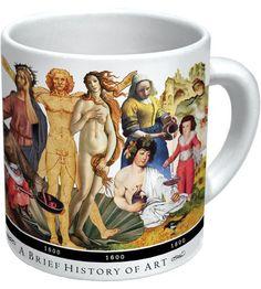 Aprende Historia del Arte mientras desayunas con esta ingeniosa taza de The Unemployed Philosophers Guild que encontrarás en #LibreríaMPM: de las cuevas de Lascaux, Da Vinci, Degas y Picasso hasta llegar a Jackson Pollock, Andy Warhol y Jeff Koons.