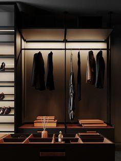 Project HD# Black Prostir on Behance Apartment Projects, Cozy Apartment, Apartment Design, Loft Closet, Wardrobe Closet, Bathroom Design Luxury, Home Interior Design, Steel House, Wardrobe Design