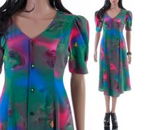 Watercolor Print Dress Pink Blue Green Abstract Unique 80s 90s Button Front Flare Summer Dress Boho Chic Hipster Clothing Womens Size Large