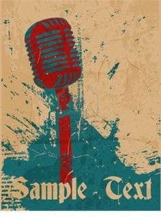 grunge concert poster with microphone Stock Photo
