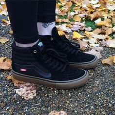 "VANS Sk8-Hi Pro ""Black Gum"" Vans Sk8 Hi Black, Vans Sk8 Hi Pro, Ankle Sneakers, All Black Sneakers, High Top Sneakers, Black Gums, Vans Off The Wall, Minimalist Wardrobe, Vans Shoes"