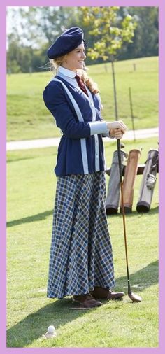 Ogden (Hélène Joy) is pleased with her golf swing Detective, Murdock Mysteries, Famous Golfers, Womens Golf Wear, Countryside Fashion, Tv, Perfect Golf, Period Costumes, Golf Outfit