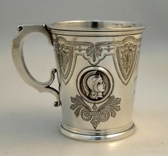 "Albert Coles coin silver ""Medallion"" pattern child's cup, c1865 (Berry & Co)"