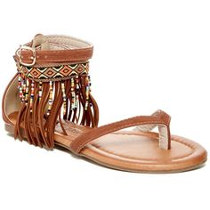 Nature Breeze Celine Beaded Fringe Sandal ($20) ❤ liked on Polyvore featuring shoes, sandals, tan pu, beaded sandals, fringe sandals, wrap around sandals, woven sandals and wrap around ankle sandals
