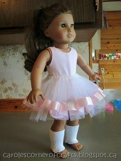 FREE TUTORIAL Carole's Corner of Crafts: American Girl Doll Tutu, Leg Warmers and Bodysuit AG006