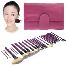 [$15.08] Foldable Cosmetic Brush Case PU Leather Bag Kit Set for Ladies, Pack of 26(Purple)