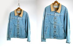 Vintage Vtg 1980's Marithe and Francois Girbaud The Stone Washed Distressed Light Blue Denim Jacket with Corduroy Collar Men's Large USA by thiefislandvintage on Etsy
