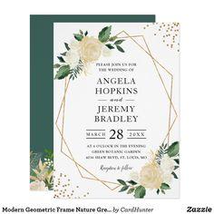 Modern Geometric Frame Nature Green Floral Wedding Invitation Spring Wedding invitations and stationery. Card Invitation, Floral Invitation, Wedding Invitation Cards, Wedding Cards, Cricut Wedding, Invitation Envelopes, Wedding Gifts, Trendy Wedding, Elegant Wedding