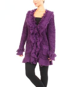 Another great find on #zulily! Purple Fringe Knit Jacket by Michael K #zulilyfinds