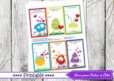 Petites cartes St-Valentin - Digital imprimable by FairePartBedonaBebe on Etsy