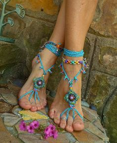 blue HIPPIE summer BAREFOOT SANDALS crochet sandals beaded sandals foot jewelry beach wedding bohemian gypsy shoes
