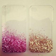 Pink or gold, glittery phone case.