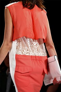 See all the Details photos from Bcbg Max Azria Spring/Summer 2013 Ready-To-Wear now on British Vogue Max Azria, Bcbg, Pink Grapefruit, Close Up Photos, Lace Back, Fashion Details, Lace Skirt, Ready To Wear, Spring Summer