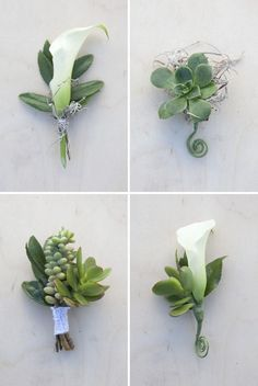 White blooms and green succulents make a masculine boutonnieres! #bouquetblueprint #weddingflowers You can plant the succulents after the wedding!