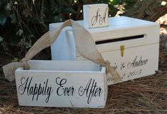 Rustic Wedding Box Set Card Box Flower Girl Basket Ring Box Keepsake Chest Personalized Custom Bride & Groom names and Date Country Shabby