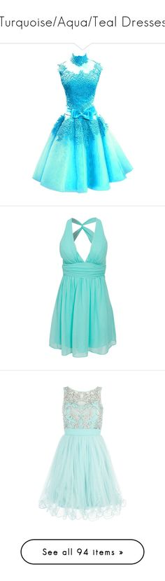 """""""Turquoise/Aqua/Teal Dresses"""" by cattyrose ❤ liked on Polyvore featuring dresses, high neck prom dresses, short homecoming dresses, short blue dress, tulle prom dress, short prom dresses, vestidos, party dress, short dresses and mint"""