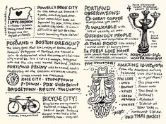 Mike Rhode is a designer who loves to read, write and draw. For the latter, he takes a Moleskin sketchbook everywhere, keeping a visual journal of his travels. We particularly like this piece taken from Rhode's Portland sketchnote travelogue, in which he records facts and thoughts with brilliant little sketches and typography.
