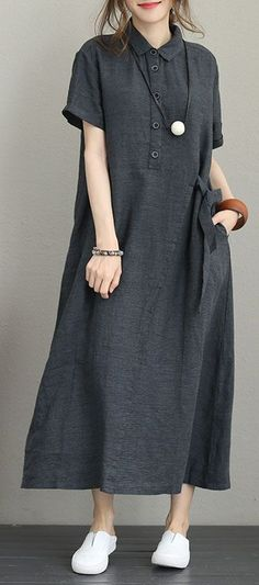 Fine dark gray linen dress trendy plus size turn-down collar linen clothing dresses Elegant short sleeve tie waist maxi dressesMost of our dresses are made of cotton linen fabric, soft and breathy. loose dresses to make you comfortable all the Beach Wear Dresses, Linen Dresses, Trendy Dresses, Elegant Dresses, Casual Dresses, Maxi Dresses, Casual Clothes, Floral Dresses, Simple Dresses