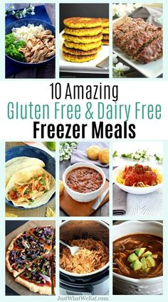 10 Gluten Free & Dairy Free Freezer Meals - Just What We Eat 10 Gluten Free & Dairy Free Meals ~ These gluten free and dairy free freezer meals were amazing to have when my son was born. They all tasted delicious and were so easy to put together! No Dairy Recipes, Sugar Free Recipes, Foods With Gluten, Sans Gluten, Healthy Recipes, Sugar Free Meals, Milk Recipes, Gluten Free Meal Plan, Dairy Free Diet